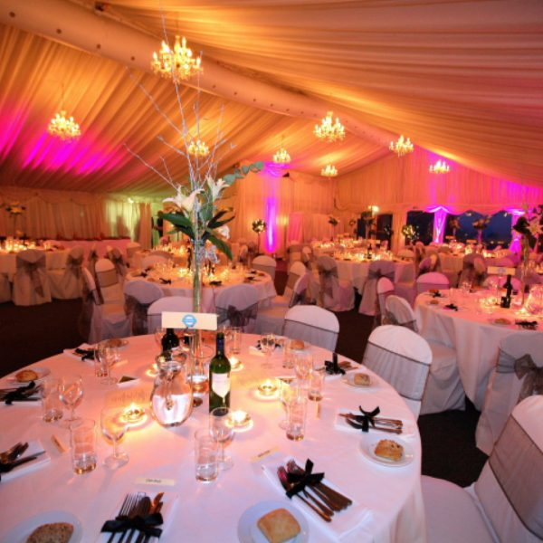 Main marquee set for a charity ball