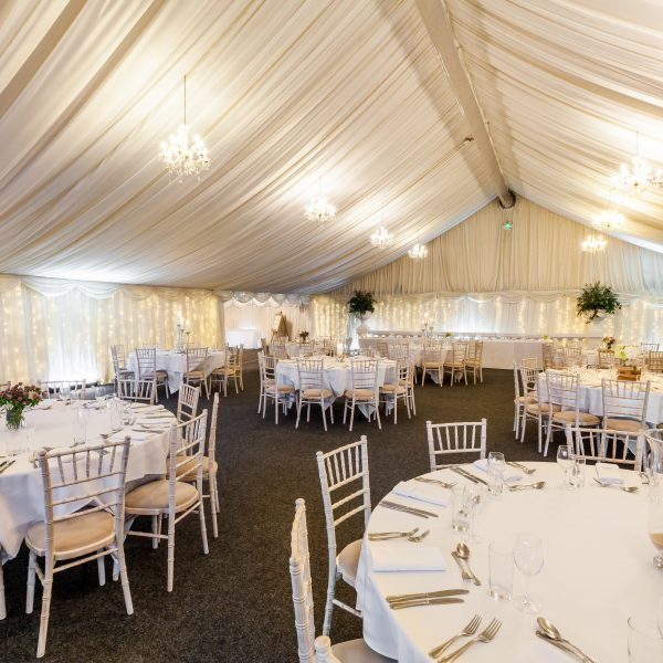 Main marquee, set for a dinner party or awards dinner